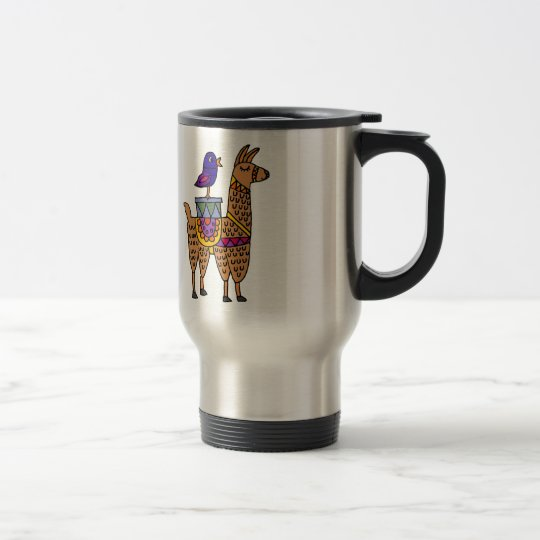 Col Llama with Colourful Blanket and Packages Travel Mug