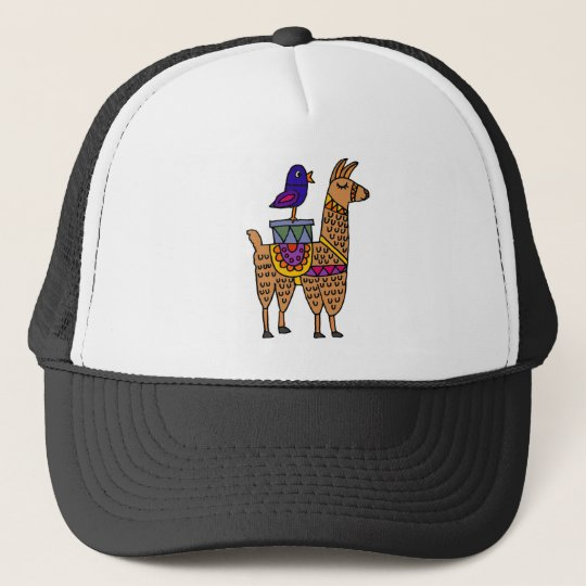 Col Llama with Colourful Blanket and Packages Trucker Hat