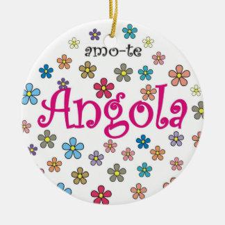 Colar circular - amo-te Angola - Flores Round Ceramic Ornament
