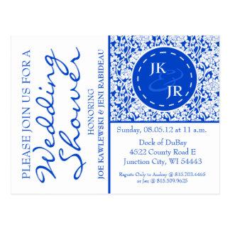 Colbalt Blue Flourish and Umbrella Bridal Shower Postcard