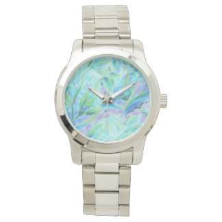 Cold abstract floral elements seamless pattern wrist watches