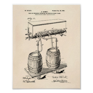 Cold Air Pressure Beer 1900 Patent Art Old Peper Poster
