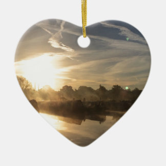 Cold and frosty morning. ceramic heart ornament