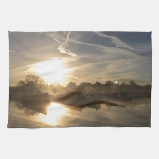 Cold and frosty morning. kitchen towel