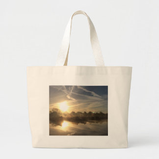 Cold and frosty morning. large tote bag