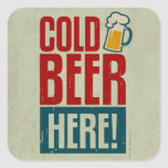 Cold Beer Square Stickers