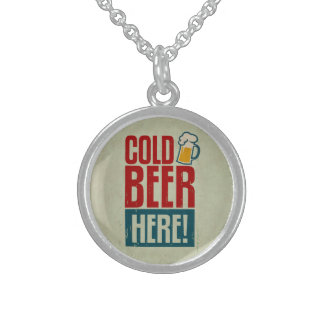 Cold Beer Sterling Silver Necklace