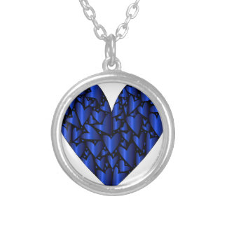 Cold Blue Heart Silver Plated Necklace