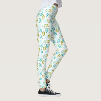 Cold Colored Fern Leaves Pattern Leggings