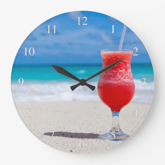 Cold Drink at the Beach Small Numbers Large Clock