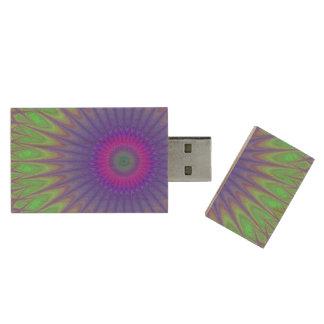 Cold mandala wood USB 3.0 flash drive