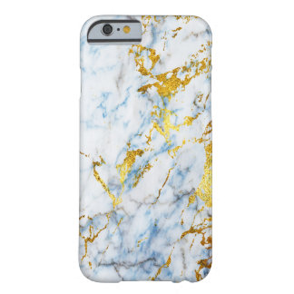 Cold Stone Blue and Gold Metalic Marble Barely There iPhone 6 Case