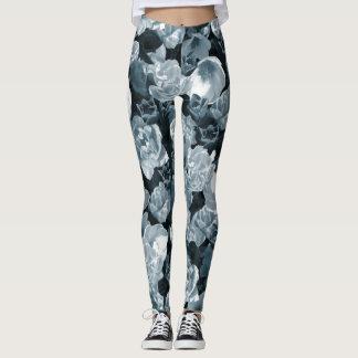 Cold tone tulip pattern leggings