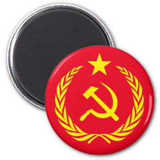 Cold War Communist Flag Round Magnet