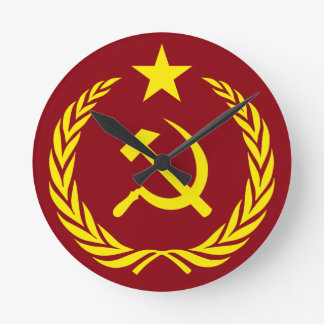 Cold War Communist Flag Round Wall Clock