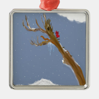 cold weather Silver-Colored square ornament