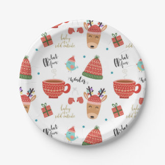 Cold Winter Christmas Rustic Kraft Holiday Party Paper Plate