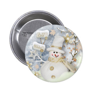 Cold Winter Snowman 2 Inch Round Button