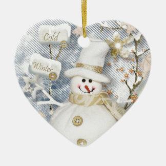 Cold Winter Snowman Ceramic Heart Ornament
