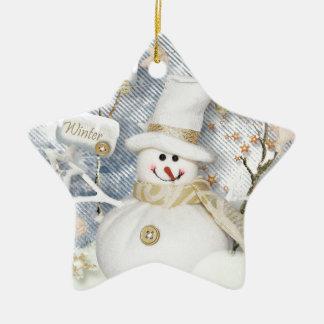 Cold Winter Snowman Ceramic Star Ornament