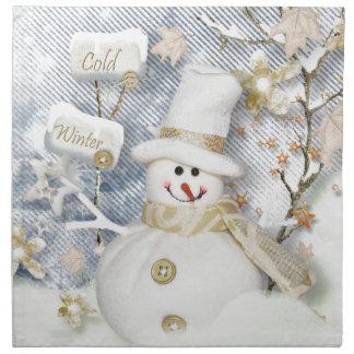 Cold Winter Snowman Napkin