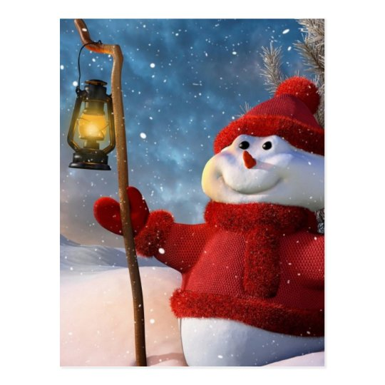 Cold Winter Snowman Postcard