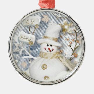 Cold Winter Snowman Silver-Colored Round Ornament