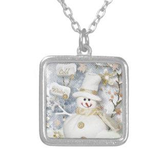 Cold Winter Snowman Silver Plated Necklace
