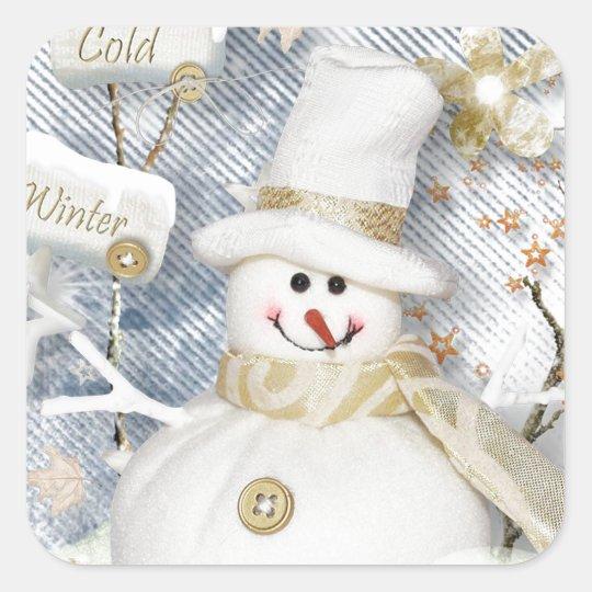 Cold Winter Snowman Square Sticker