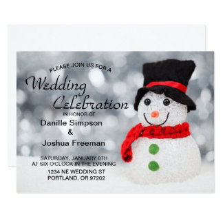 Cold Winter Snowman w Red Scarf and Black Top Hat Card