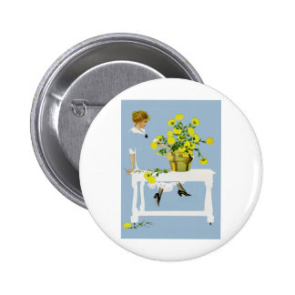 Coles Phillips Fadeaway Chrysanthemums 2 Inch Round Button