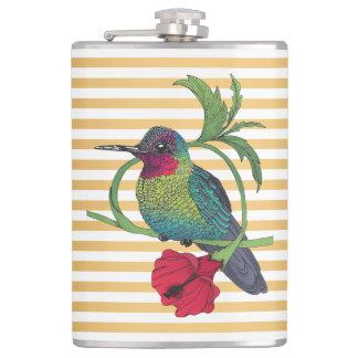 Colibri Bird Gold Stripes Illustration Flask