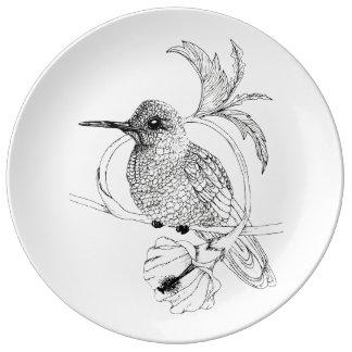 Colibri Bird Illustration Porcelain Plate