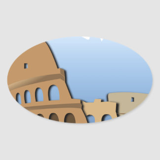 Coliseo Roma Rome Ancient Coliseum History Italy Oval Sticker