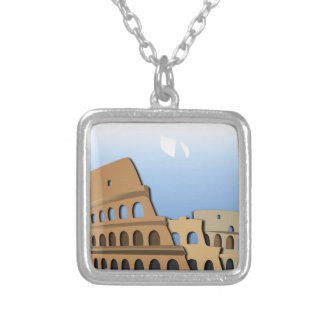 Coliseo Roma Rome Ancient Coliseum History Italy Silver Plated Necklace