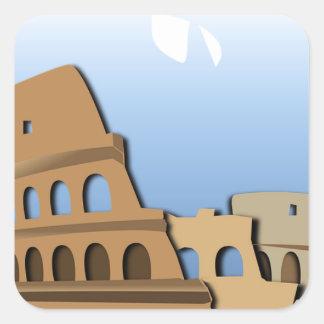 Coliseo Roma Rome Ancient Coliseum History Italy Square Sticker
