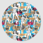 Collage 10 de femme de merveille adhésif rond