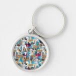 Collage 10 de femme de merveille porte-clé rond argenté