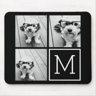 Collage à la mode noir et blanc de photo avec le tapis de souris