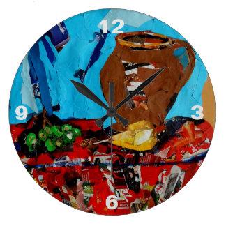 Collage Art StillLife Naturemort Pop Art Wall Clok Large Clock