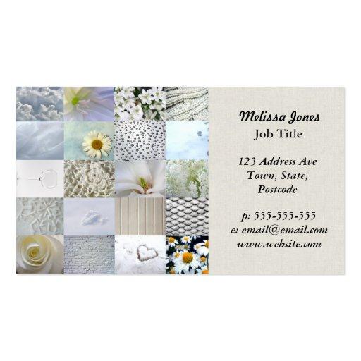 Collage blanc de photographie cartes de visite professionnelles