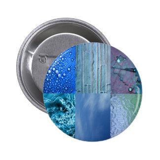 Collage bleu de photo macaron rond 5 cm