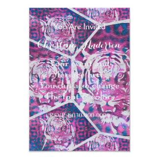 Collage bleu rose de tigre carton d'invitation 8,89 cm x 12,70 cm