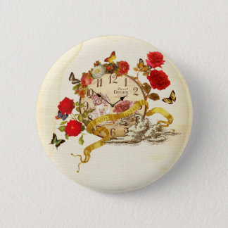 Collage can badge of clock and flower 2 inch round button