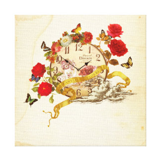 Collage canvas of clock and flower