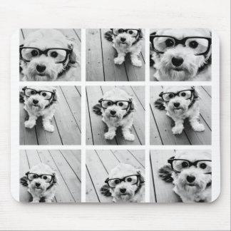 Collage carré de la photo 9 - noir et blanc tapis de souris