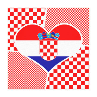 Collage - Croatian Flag, Red & White Checkers Canvas Print
