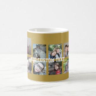 Collage de 12 photos avec l'arrière - plan d'or mug blanc