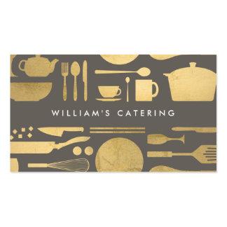 Collage de cuisine dans la feuille d'or de Faux Carte De Visite Standard