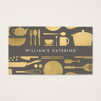 Collage de cuisine dans la feuille d'or de Faux Cartes De Visite